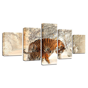 Winter Snow Tigers 5 Piece HD Multi Panel Canvas Wall Art Frame
