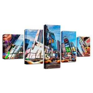 City Buildings Blue Sky White Cloud 5 Piece HD Multi Panel Canvas Wall Art Frame