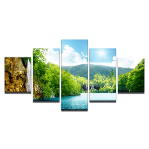 Waterfall Mountain Nature Landscape 5 Piece HD Multi Panel Canvas Wall Art Frame