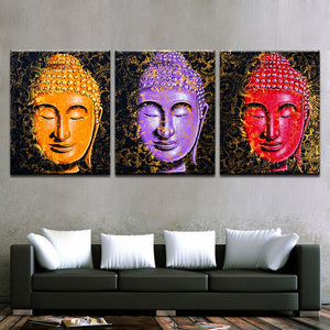 Colorful Buddha 3 Piece HD Multi Panel Canvas Wall Art Frame