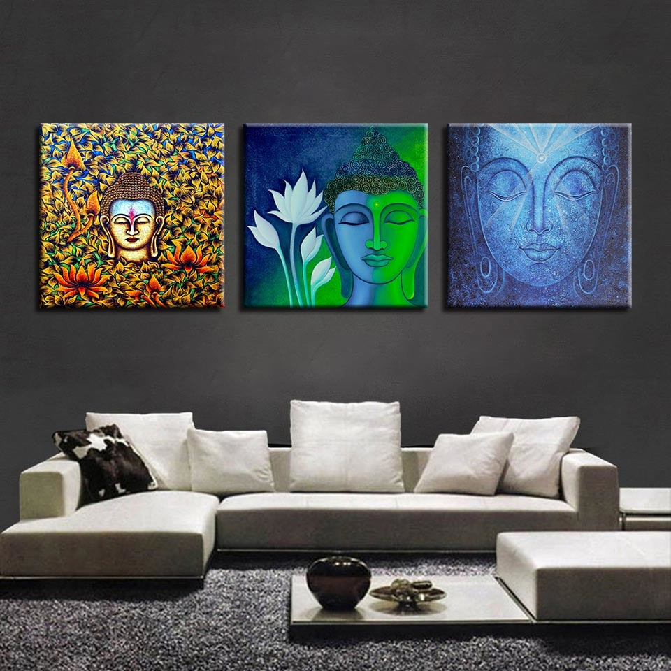 Buddha Statues Print 3 Piece HD Multi Panel Canvas Wall Art Frame