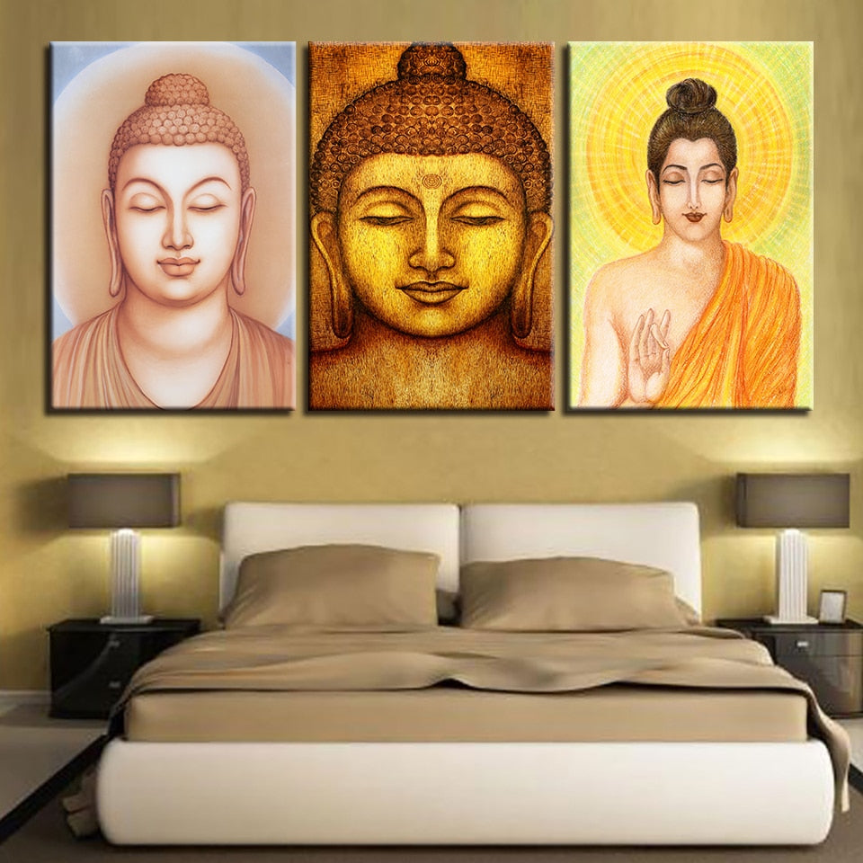 Buddha Statues 3 Piece HD Multi Panel Canvas Wall Art Frame