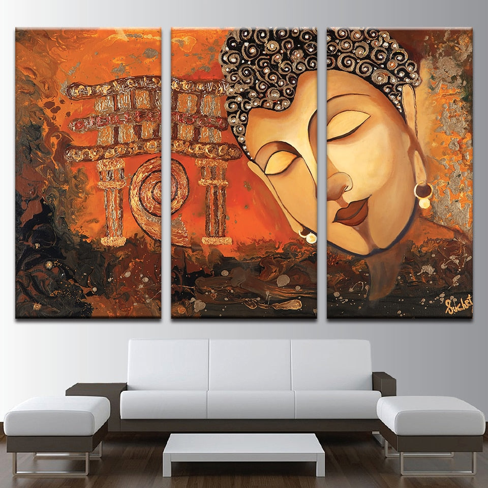 Buddha Art 3 Piece HD Multi Panel Canvas Wall Art Frame