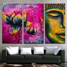 Buddha And Lotus 3 Piece HD Multi Panel Canvas Wall Art Frame