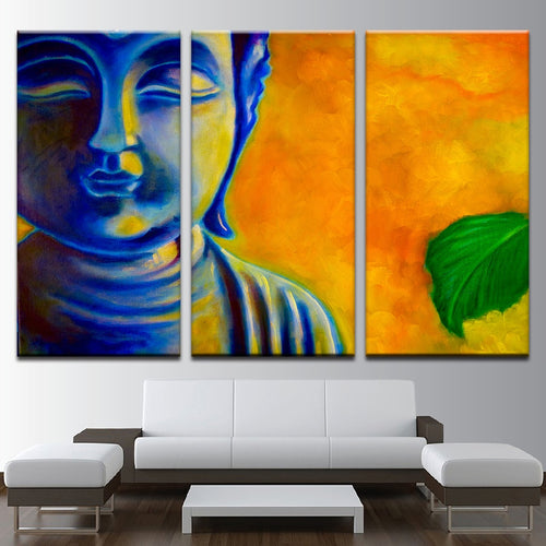 Blue Zen Buddha Paintings 3 Piece HD Multi Panel Canvas Wall Art Frame