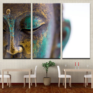 Buddha Statue Face 3 Piece HD Multi Panel Canvas Wall Art Frame