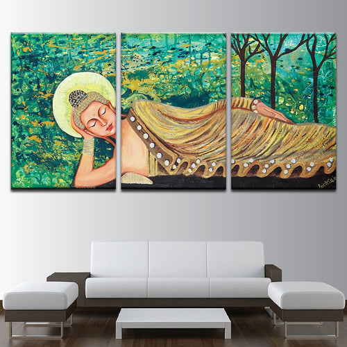 Sleeping Buddha Painting 3 Piece HD Multi Panel Canvas Wall Art Frame