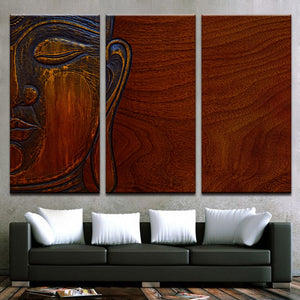 Buddha Wooden Print 3 Piece HD Multi Panel Canvas Wall Art Frame