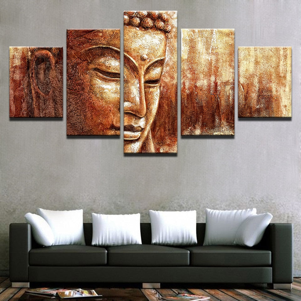 Brown Buddha Paintings 5 Piece HD Multi Panel Canvas Wall Art Frame