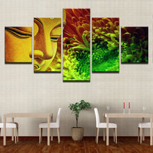 Buddha Statue And Flowers 5 Piece HD Multi Panel Canvas Wall Art Frame