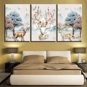 Deer Print 3 Piece HD Multi Panel Canvas Wall Art Frame