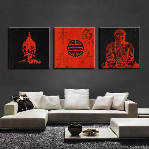 Red Buddhism 3 Piece HD Multi Panel Canvas Wall Art Frame