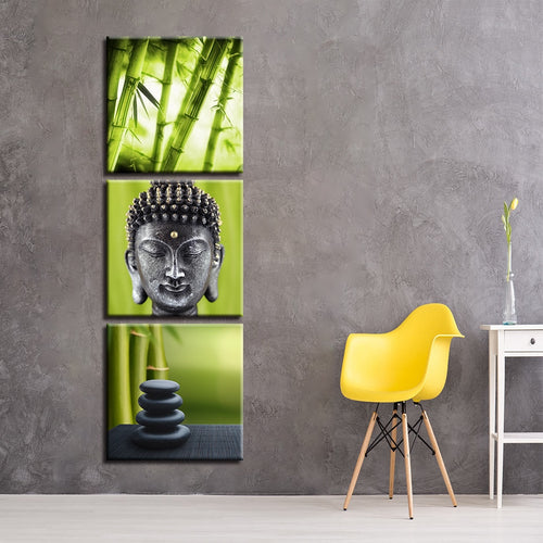 Bamboo Grove 3 Piece HD Multi Panel Canvas Wall Art Frame