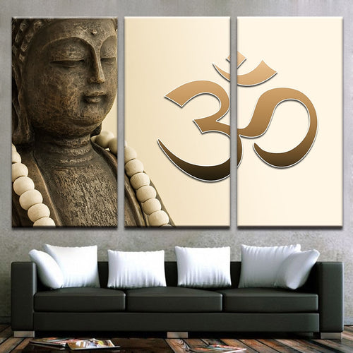 Om Art Buddha 3 Piece HD Multi Panel Canvas Wall Art Frame