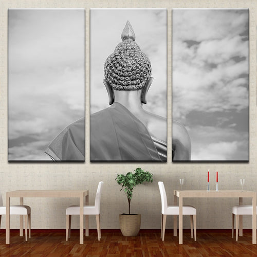 Back Of The Buddha Statue 3 Piece HD Multi Panel Canvas Wall Art Frame