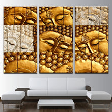 Golden Zen Buddha 3 Piece HD Multi Panel Canvas Wall Art Frame