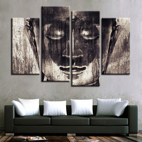 Meditating Buddha 4 Piece HD Multi Panel Canvas Wall Art Frame