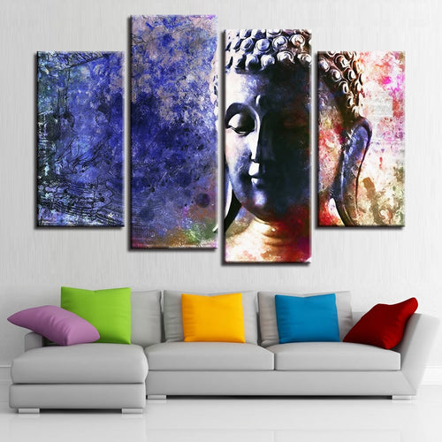 Buddha Painting 4 Piece HD Multi Panel Canvas Wall Art Frame
