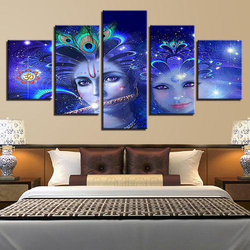 Radha And Krishna 5 Piece HD Multi Panel Canvas Wall Art Frame