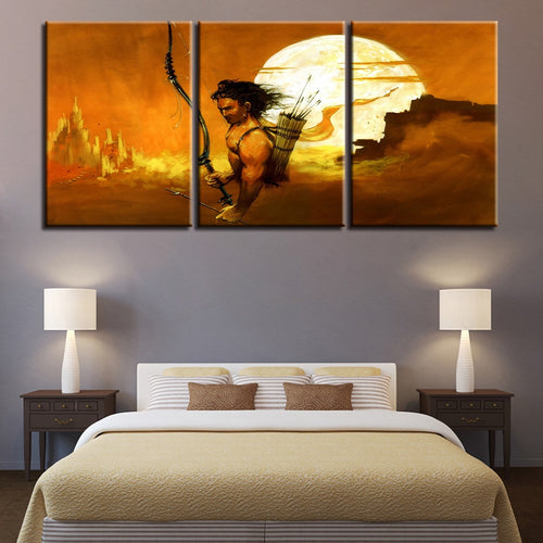 Indian Lord Rama 3 Piece HD Multi Panel Canvas Wall Art Frame