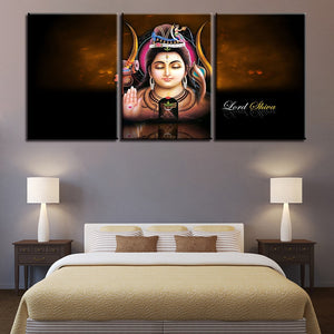 Lord Shiva 3 Piece HD Multi Panel Canvas Wall Art Frame