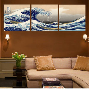 Great Waves 3 Piece HD Multi Panel Canvas Wall Art Frame