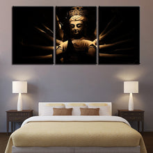 Lord Gautam Buddha 3 Piece HD Multi Panel Canvas Wall Art Frame