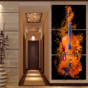 Burning Violin 3 Piece HD Multi Panel Canvas Wall Art Frame