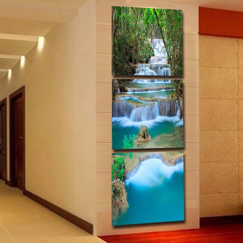 Waterfall 3 Piece HD Multi Panel Canvas Wall Art Frame