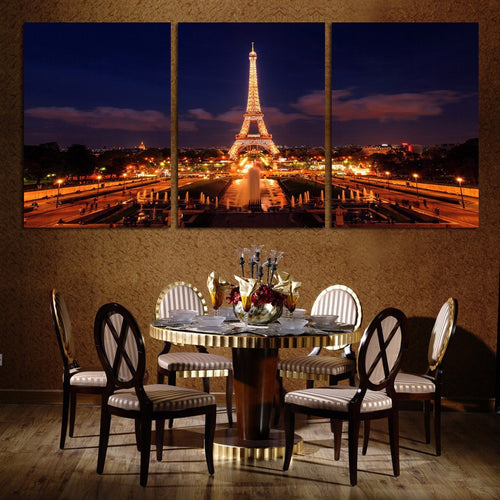 Dazzling Eiffel Tower 3 Piece HD Multi Panel Canvas Wall Art Frame