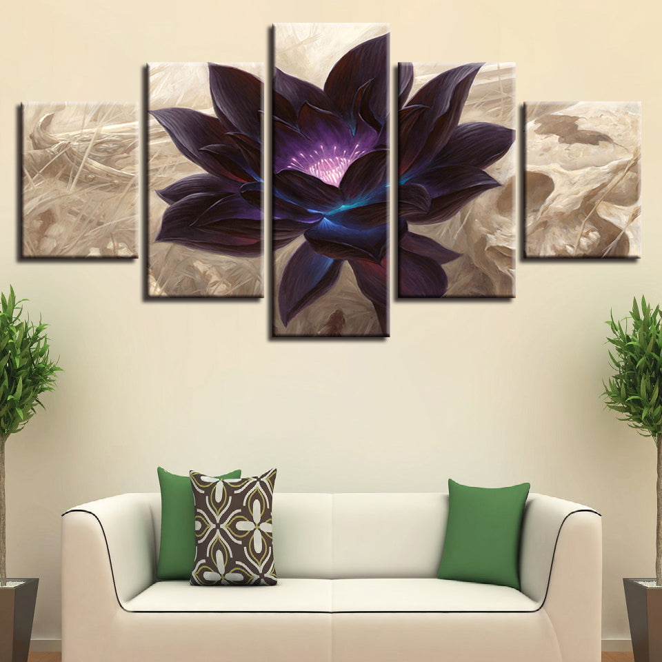Black Lotus Graphic 5 Piece HD Multi Panel Canvas Wall Art Frame