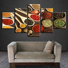 Spoons Spices Grains 5 Piece HD Multi Panel Canvas Wall Art Frame