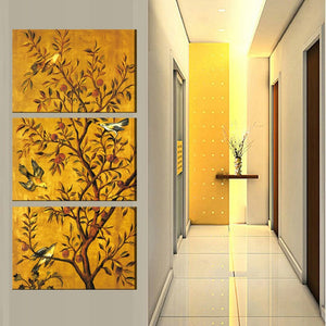 Flowers And Birds 3 Piece HD Multi Panel Canvas Wall Art Frame