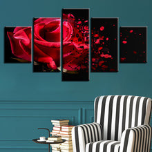 Red Rose Petals 5 Piece HD Multi Panel Canvas Wall Art Frame