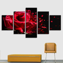 Red Rose Fading 5 Piece HD Multi Panel Canvas Wall Art Frame