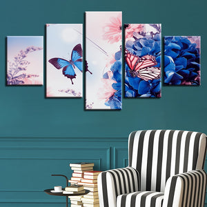 Beautiful Butterfly Flowers 5 Piece HD Multi Panel Canvas Wall Art Frame