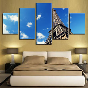 Eiffel Tower 5 Piece HD Multi Panel Canvas Wall Art Frame
