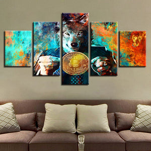 Mr. Wolf And Bitcoins 5 Piece HD Multi Panel Canvas Wall Art Frame