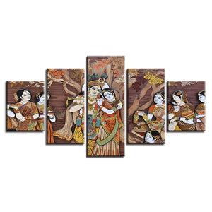 Krishna And Radharani 5 Piece HD Multi Panel Canvas Wall Art Frame