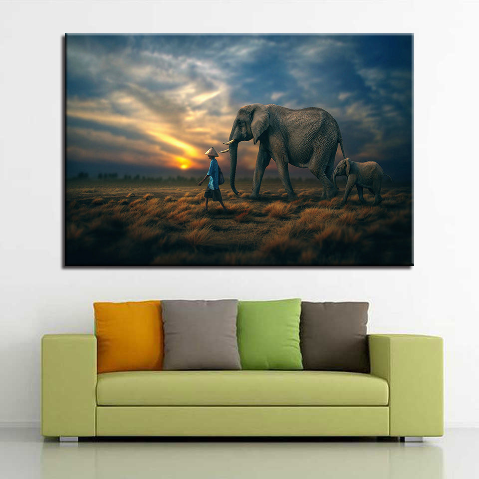Elephant Family 1 Piece HD Multi Panel Canvas Wall Art Frame