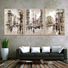 Abstract City Street 3 Piece HD Multi Panel Canvas Wall Art Frame