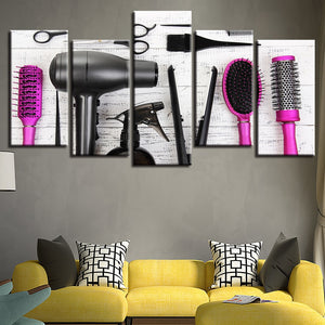 Hair Dressing Tools 5 Piece HD Multi Panel Canvas Wall Art Frame