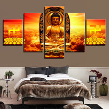 Golden Buddha 5 Piece HD Multi Panel Canvas Wall Art Frame