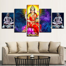 God Lakshmi 5 Piece HD Multi Panel Canvas Wall Art Frame