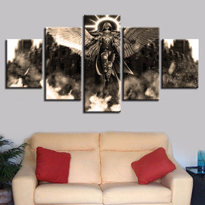 Angel Warrior 5 Piece HD Multi Panel Canvas Wall Art Frame