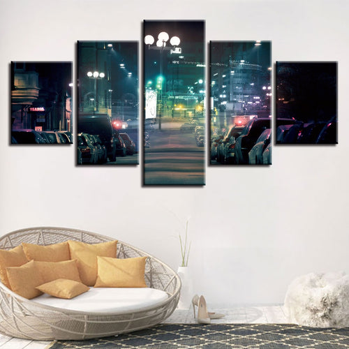 City Street Lights 5 Piece HD Multi Panel Canvas Wall Art Frame