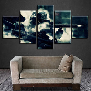 Tribute To Army Soldiers 5 Piece HD Multi Panel Canvas Wall Art Frame