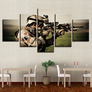 Sniper In Action 5 Piece HD Multi Panel Canvas Wall Art Frame