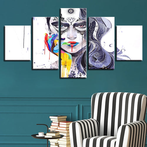 Abstract Girl 5 Piece HD Multi Panel Canvas Wall Art Frame