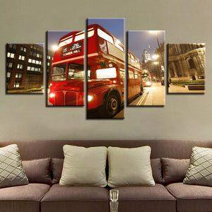 Red Bus London City 5 Piece HD Multi Panel Canvas Wall Art Frame